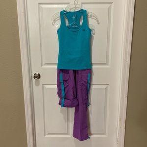 NWT Zumba Teal & Purple cargo pants/Top Sz Small
